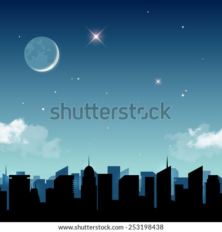 Star night in the city vector illustration - stock vector