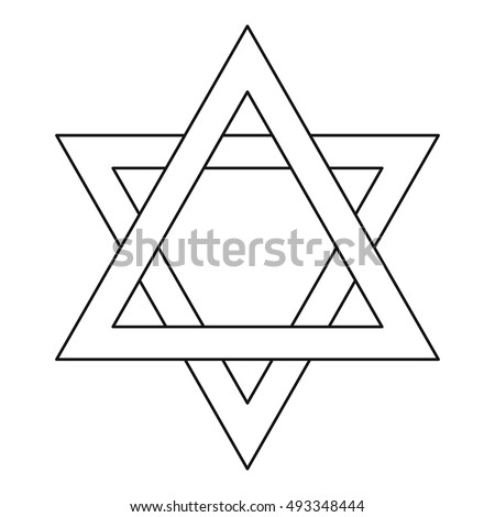 Star of David icon in outline style on a white background vector illustration