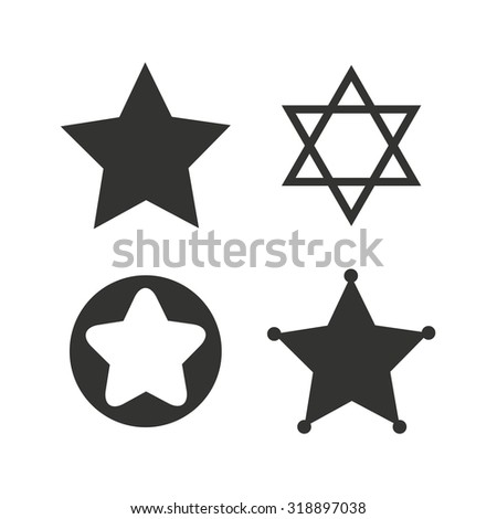 Star of David icons. Sheriff police sign. Symbol of Israel. Flat icons ...