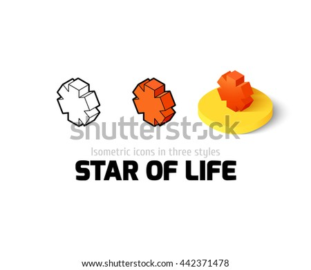 Star of life icon, vector symbol in flat, outline and isometric style - stock vector