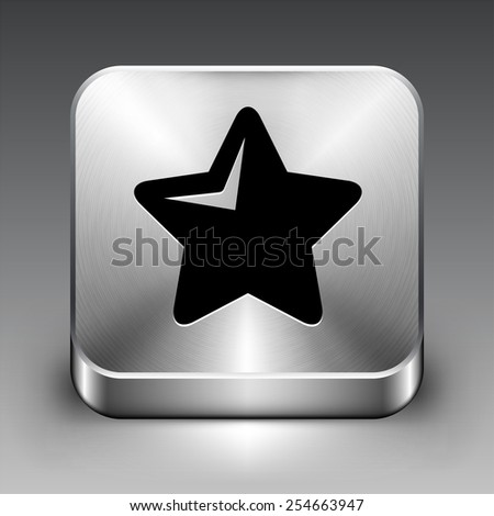 Star on Silver Square Button