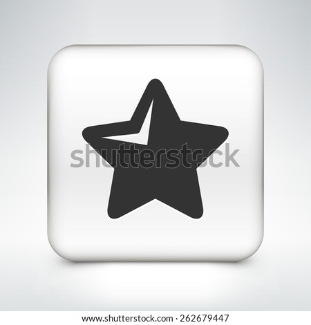Star on White Square Button