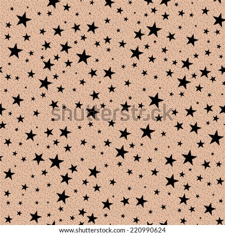 Star pattern,seamless in vector,black starts on skin color background - stock vector