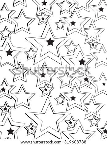 Star pattern with outline over white background - stock vector