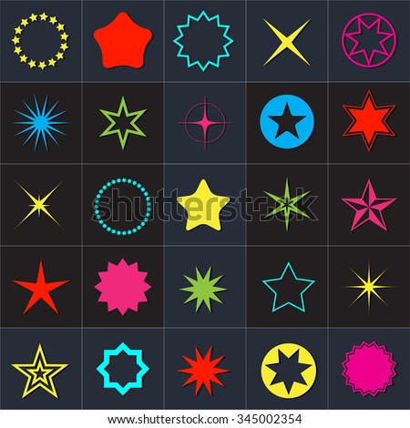Star pictogram. Set star icons. Concept rating, success, awards. Collection star pictogram. Colored star shape. Simple icon star. Isolated star symbol. Star icon on a black background. - stock vector