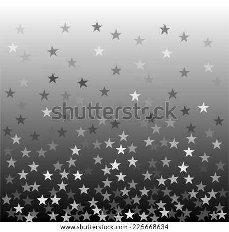 Star rain - many small silver, gray and white color stars falling on black background. winter night theme wallpaper. vector art image illustration - stock vector