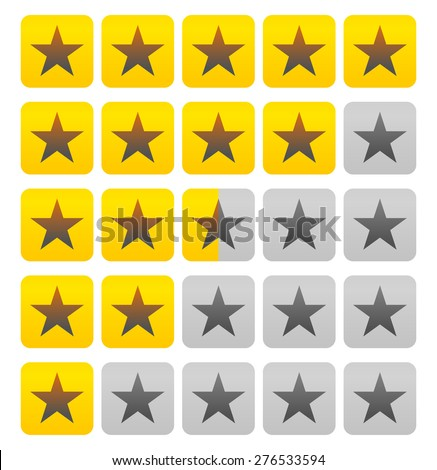 Star rating element (Half square included). Vector