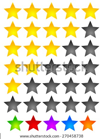 Star Rating Element. Star rating system for feedback, value, good-bad experience, customer satisfaction, valuation of quality, good-bad quality concepts. Vector. - stock vector