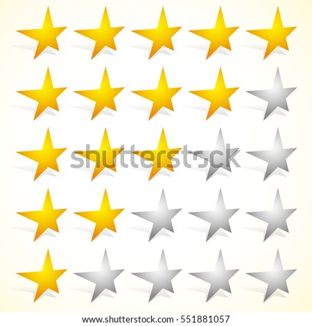 Star rating element with perspective on stars. Satisfaction, rating, quality, level concepts