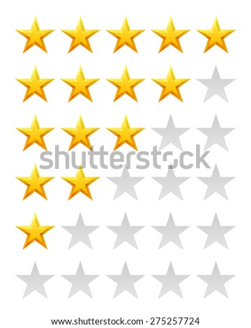 Star rating for 0 - 5 stars. Glossy stars. Best rating. - stock vector