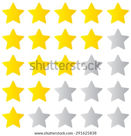 Star rating 1-5, ranking on white background, star isolated - stock vector