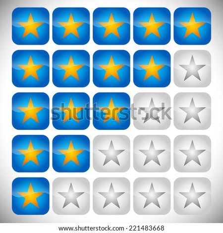 Star rating set - stock vector