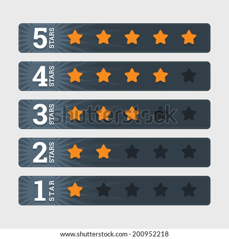 Star rating signs in flat style with numbers. Vector illustration in EPS10 format - stock vector