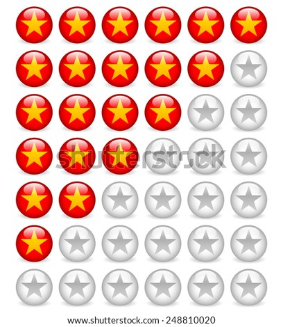 Star rating system with circle Star icons. - stock vector