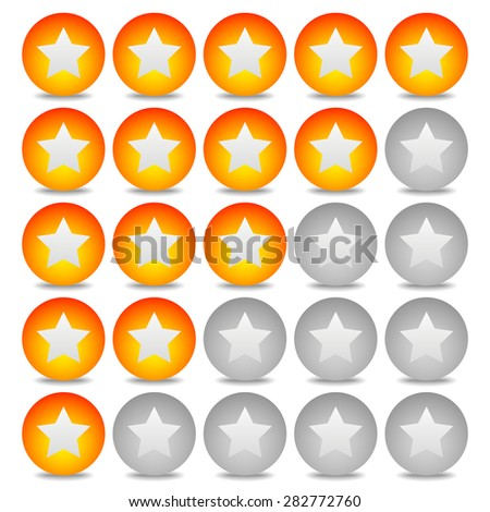 Star rating system with 5 stars and sphere graphics