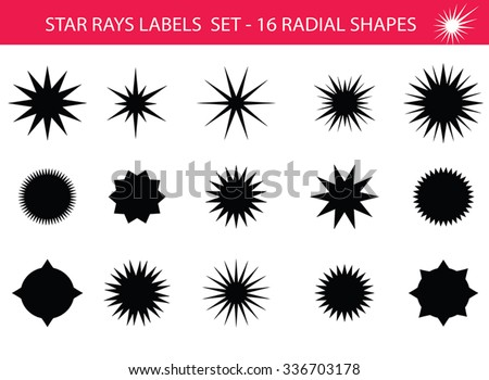 Star rays - Set of Retro Sun burst shapes. Vector stars and sparkle silhouettes classic design elements. Vintage sun ray frames, quality signs, sale icons for design project. Isolated on white. - stock vector