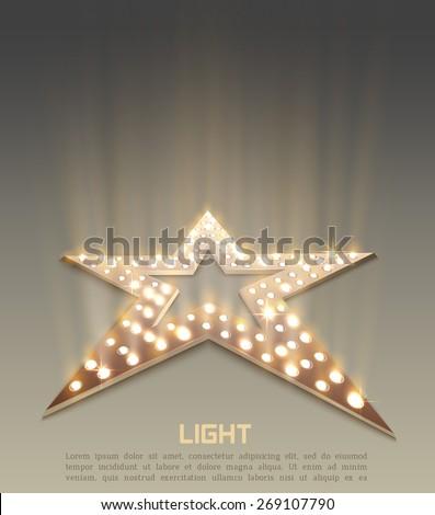 Star retro light banner. Vector illustration - stock vector