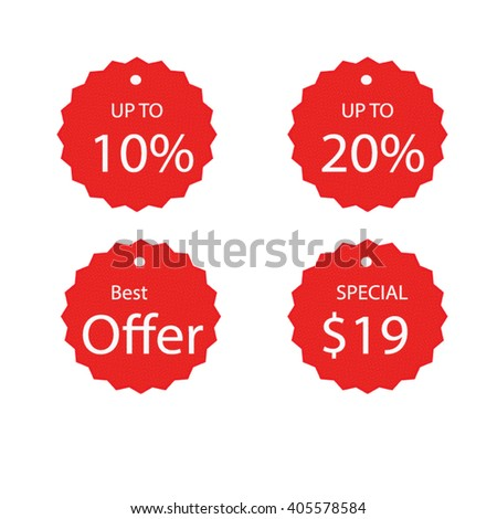 Set Template Red Sale Tag Vector Stock Vector   Shutterstock