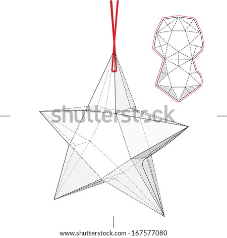 Star Shape Box with Blueprint Layout - stock vector