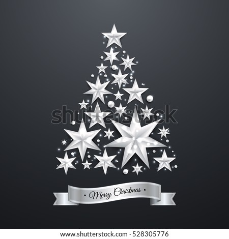 Star Shape Christmas Tree Silver Foil On Blue Background. Luxury Elegant  Merry Christmas And Happy