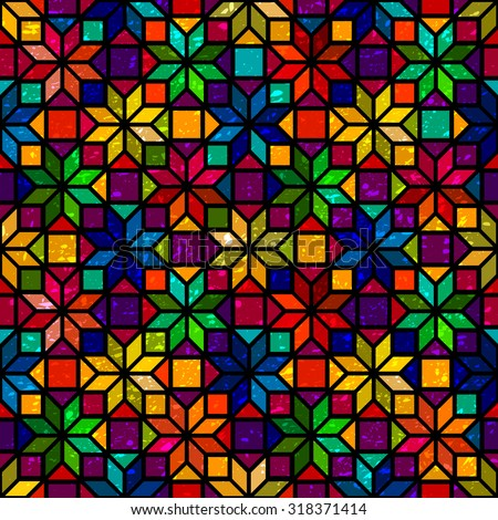 Star shape colorful geometric stained glass seamless pattern, vector - stock vector