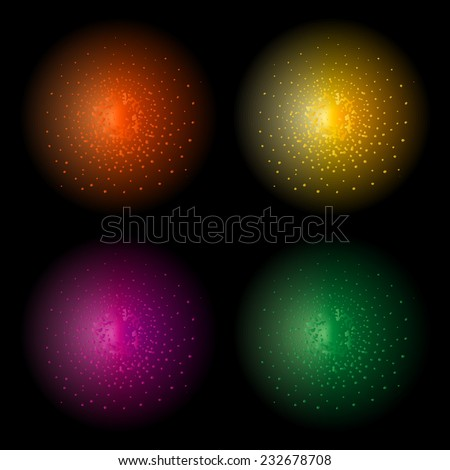 Star shine bright glow light vector effect. Orange, yellow, violet and green colors. Clip art isolated on black - stock vector