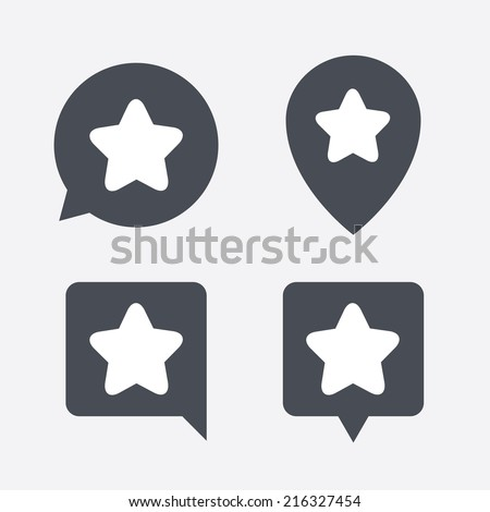 Star sign icon. Favorite button. Navigation symbol. Map pointers information buttons. Speech bubbles with icons. Vector - stock vector