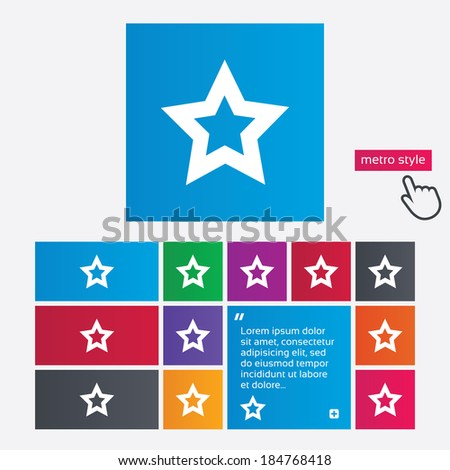 Star sign icon. Favorite button. Navigation symbol. Metro style buttons. Modern interface website buttons with hand cursor pointer. Vector - stock vector