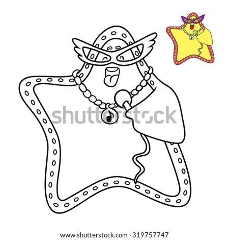 star sings a song, vector illustration. Coloring book