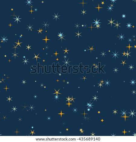 Star sky seamless vector pattern