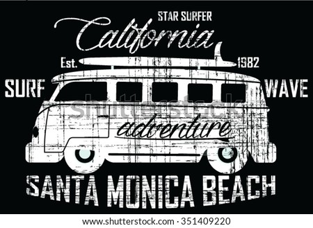 Star Surfer - Surf Bus  vector print and varsity. For t-shirt or other uses in vector. - stock vector