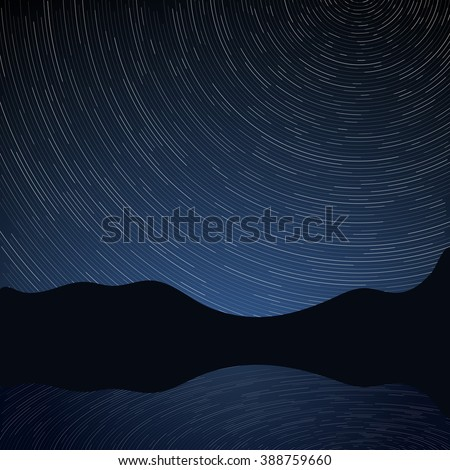Star trails circle. Glowing trail of stars on a background of mountains, the sky reflection in the lake. Night mountain landscape. Vector illustration - stock vector