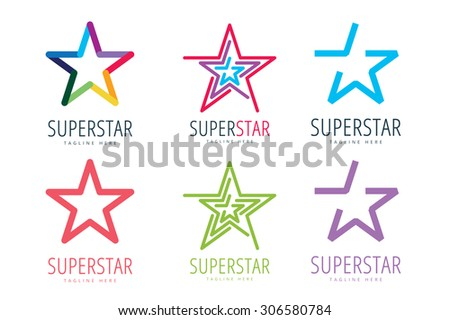 Star vector logo icon template set. Leader, boss, winner, rank or ranking. Competition and sport shape. Star symbol. Star vector logo. Leader concept. Star icon design - stock vector