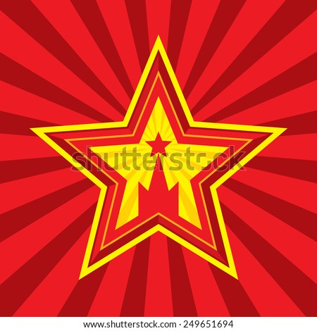 Star with Kremlin symbol - vector concept illustration in Soviet Union agitation style. Russia and USSR symbol. Moscow symbol. Red background. Minimal style. Design element. - stock vector