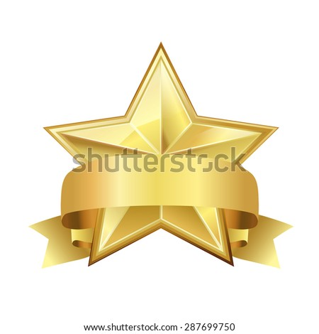 star with ribbon - stock vector