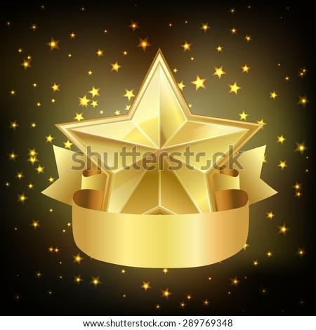 star with ribbon on dark background. vector - stock vector