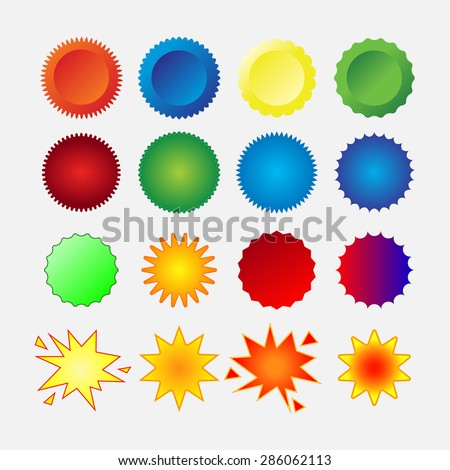starburst seals set, stars, glass, shapes, promotional labels, colorful stickers, editable vector image