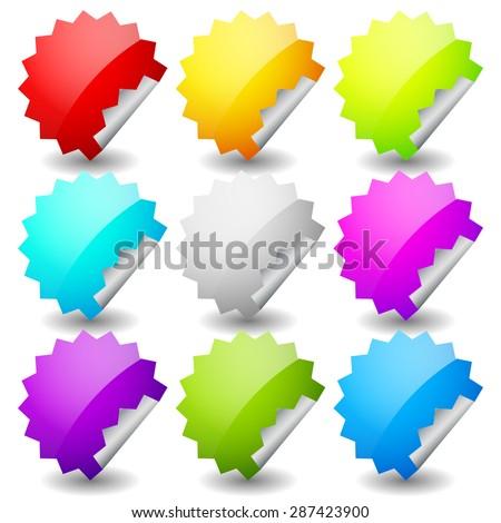 Starburst shape sticker set in 9 colors. Empty, blank vector sticker set. - stock vector