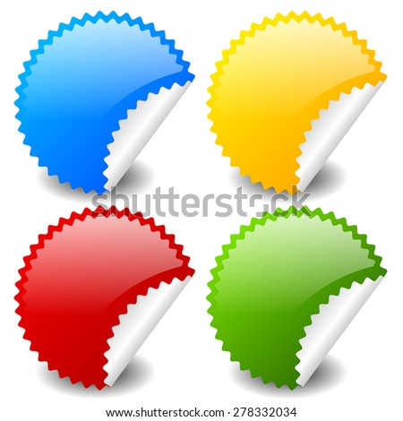 Starburst shapes as stickers in 4 colors, blue, yellow, red and green. Peeling stickers. - stock vector