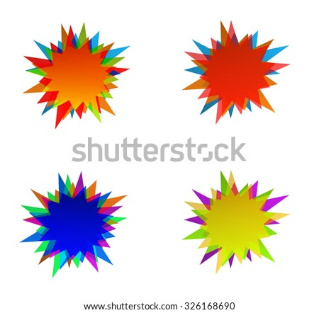 starburst splash star colored icon - stock vector