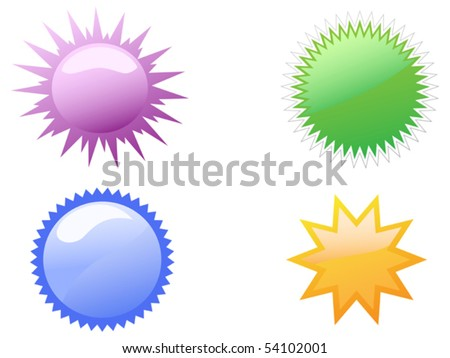 starbursts buttons - stock vector