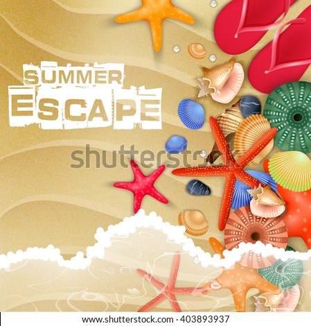 Starfish and Flip-flops on sand background.vector