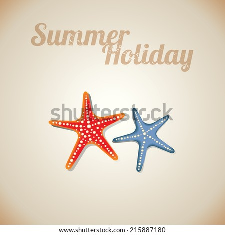 Starfish at beach nature summer vector background - stock vector