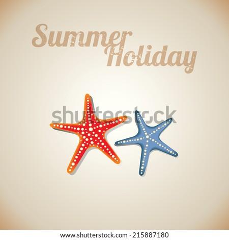 Starfish at beach nature summer vector background - stock vector