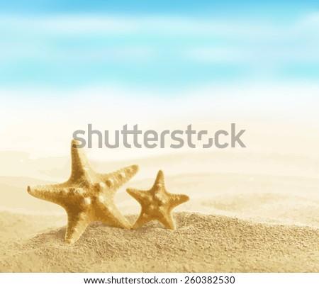 Starfish on sandy beach vector illustration EPS 8. - stock vector