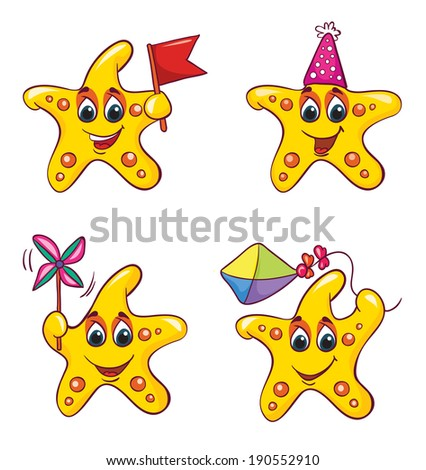 starfish set 1, vector illustration on white background - stock vector