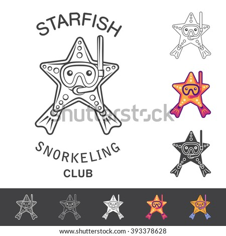 Starfish snorkeling club emblem. Vector illustration with a starfish, mask, snorkel and flippers. Logo and emblem template for snorkeling club. - stock vector