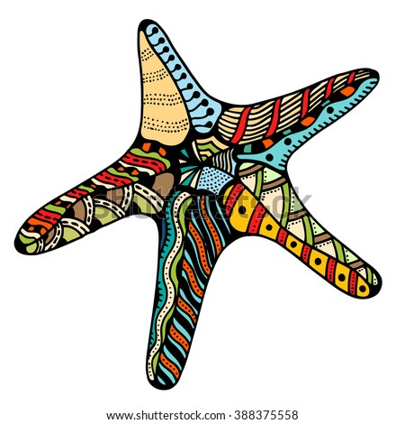 Starfish.  Zentangle Vector illustration, isolated on white