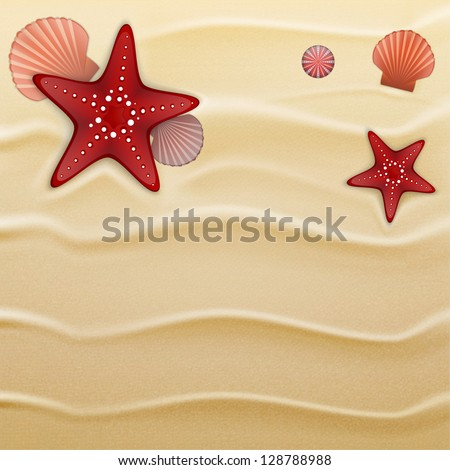 Starfishes,  sea urchin shells and scallop shells on sand. Illustration contains gradient mesh - stock vector
