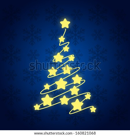 Starry Christmas tree on blue - stock vector